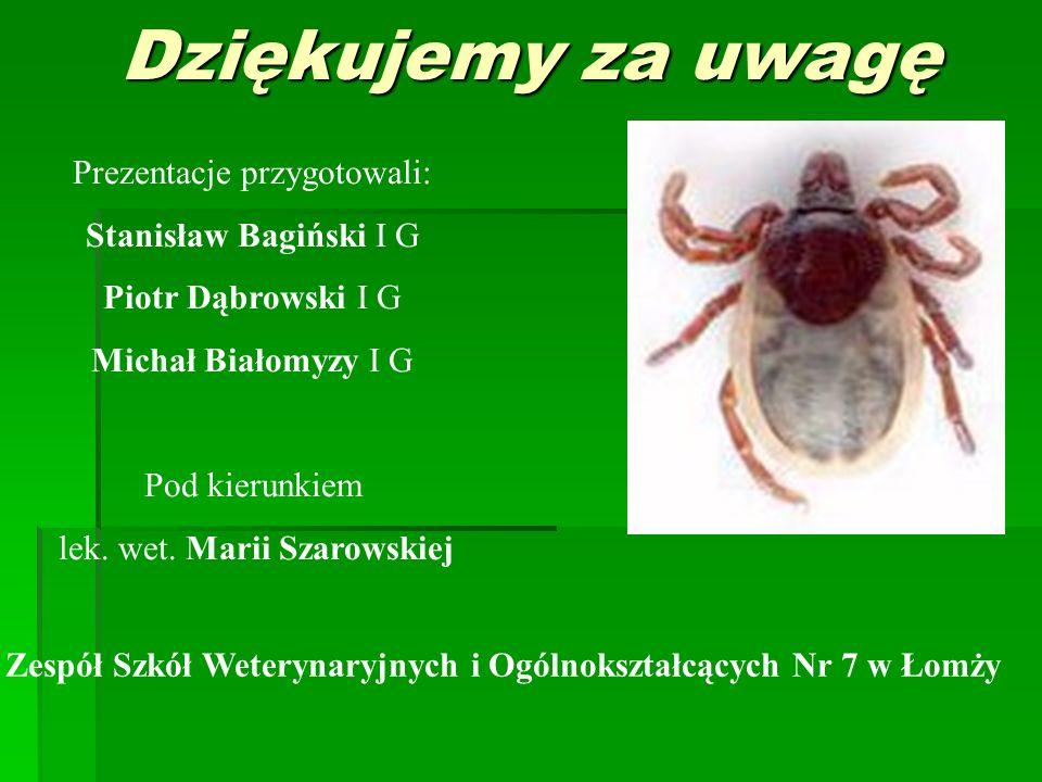 Dziękujemy za uwagę Prezentacje przygotowali: Stanisław Bagiński I G Piotr Dąbrowski I G Michał Białomyzy I G Pod kierunkiem lek. wet. Marii Szarowski