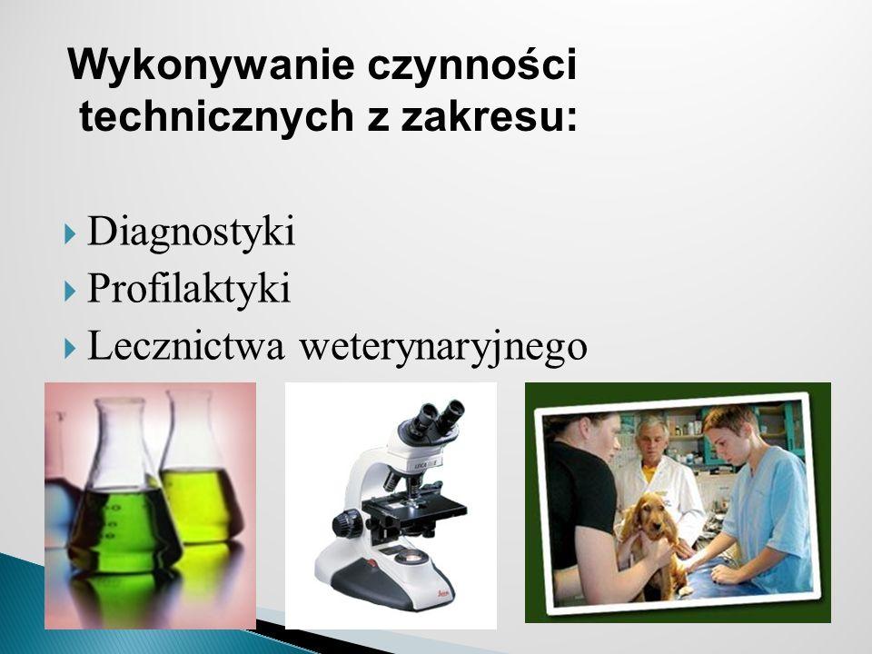 Diagnostyki Profilaktyki Lecznictwa weterynaryjnego Wykonywanie czynności technicznych z zakresu: