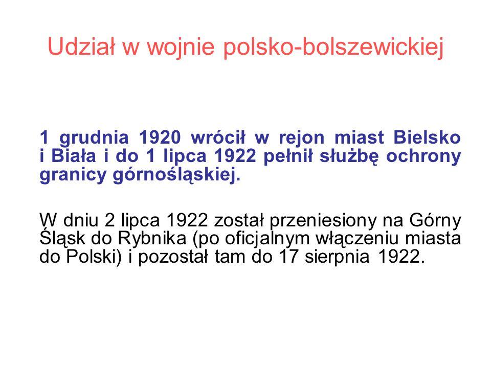 Udział w wojnie polsko-bolszewickiej 1 grudnia 1920 wrócił w rejon miast Bielsko i Biała i do 1 lipca 1922 pełnił służbę ochrony granicy górnośląskiej