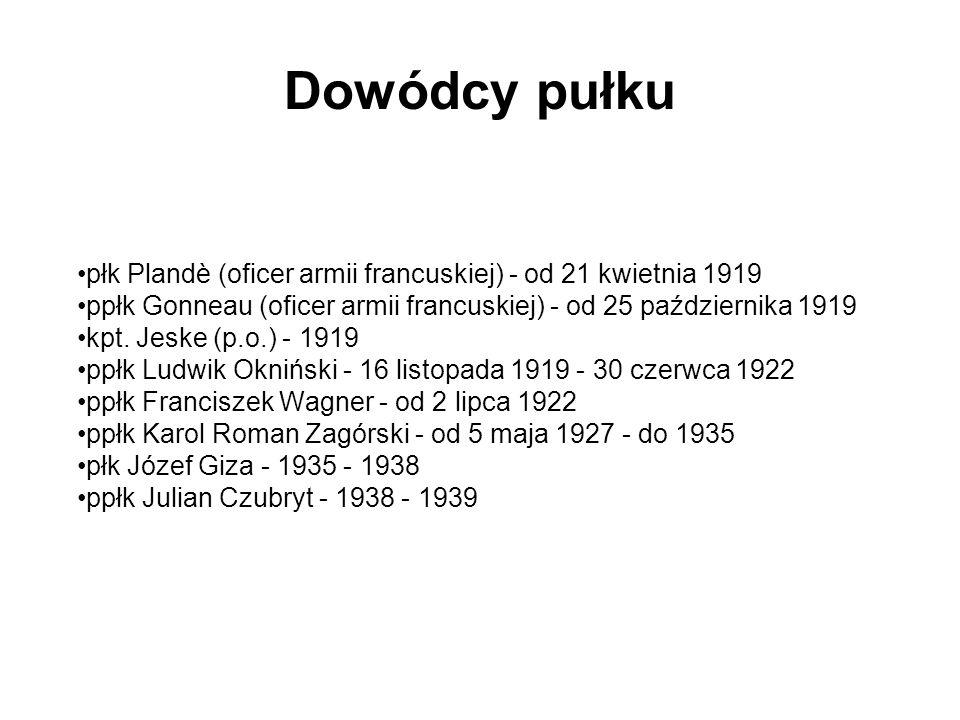 Dowódcy pułku płk Plandè (oficer armii francuskiej) - od 21 kwietnia 1919 ppłk Gonneau (oficer armii francuskiej) - od 25 października 1919 kpt. Jeske