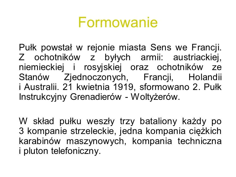 Formowanie Pułk powstał w rejonie miasta Sens we Francji. Z ochotników z byłych armii: austriackiej, niemieckiej i rosyjskiej oraz ochotników ze Stanó