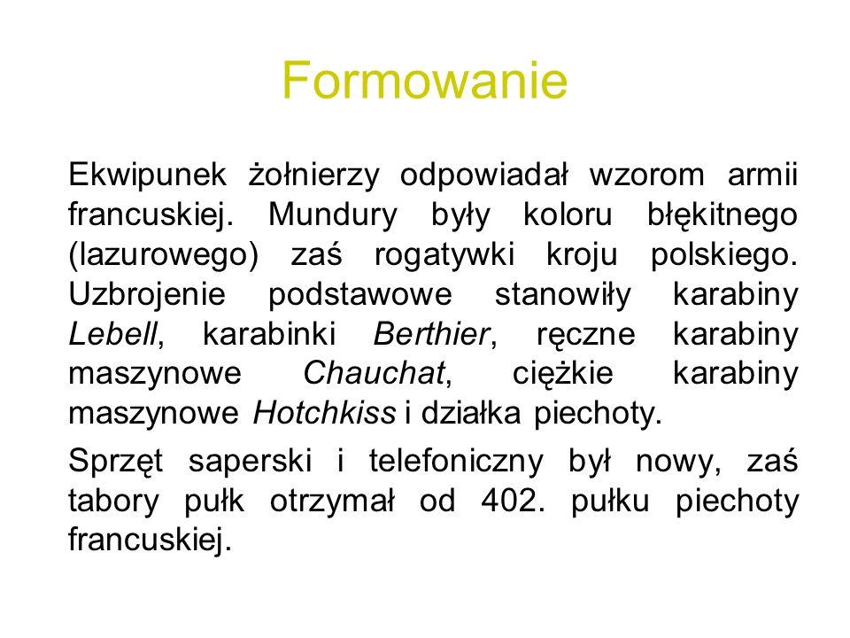 Formowanie Ekwipunek żołnierzy odpowiadał wzorom armii francuskiej. Mundury były koloru błękitnego (lazurowego) zaś rogatywki kroju polskiego. Uzbroje