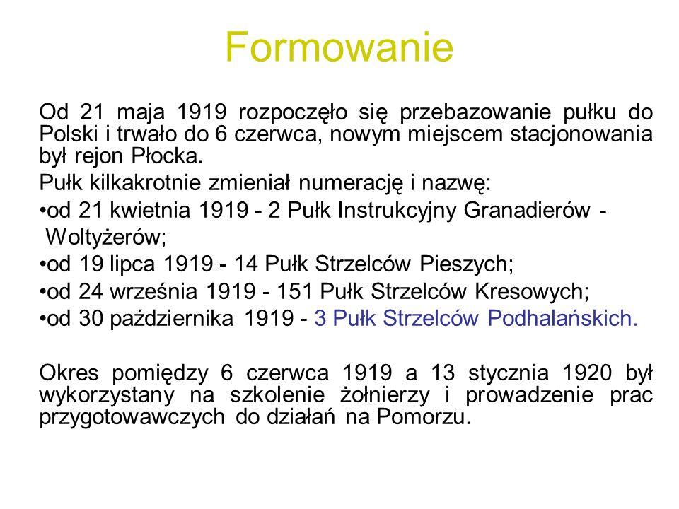 Formowanie Od 21 maja 1919 rozpoczęło się przebazowanie pułku do Polski i trwało do 6 czerwca, nowym miejscem stacjonowania był rejon Płocka. Pułk kil