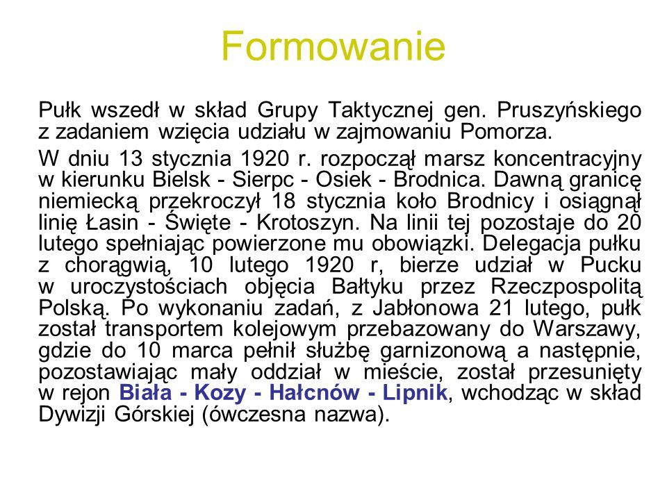 Formowanie Pułk wszedł w skład Grupy Taktycznej gen. Pruszyńskiego z zadaniem wzięcia udziału w zajmowaniu Pomorza. W dniu 13 stycznia 1920 r. rozpocz