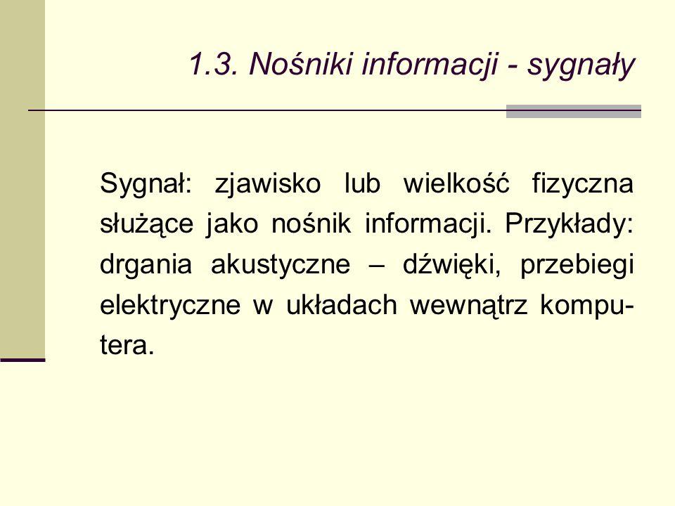 1.3. Nośniki informacji - sygnały Sygnał: zjawisko lub wielkość fizyczna służące jako nośnik informacji. Przykłady: drgania akustyczne – dźwięki, prze