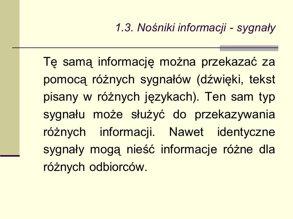 Tę samą informację można przekazać za pomocą różnych sygnałów (dźwięki, tekst pisany w różnych językach).