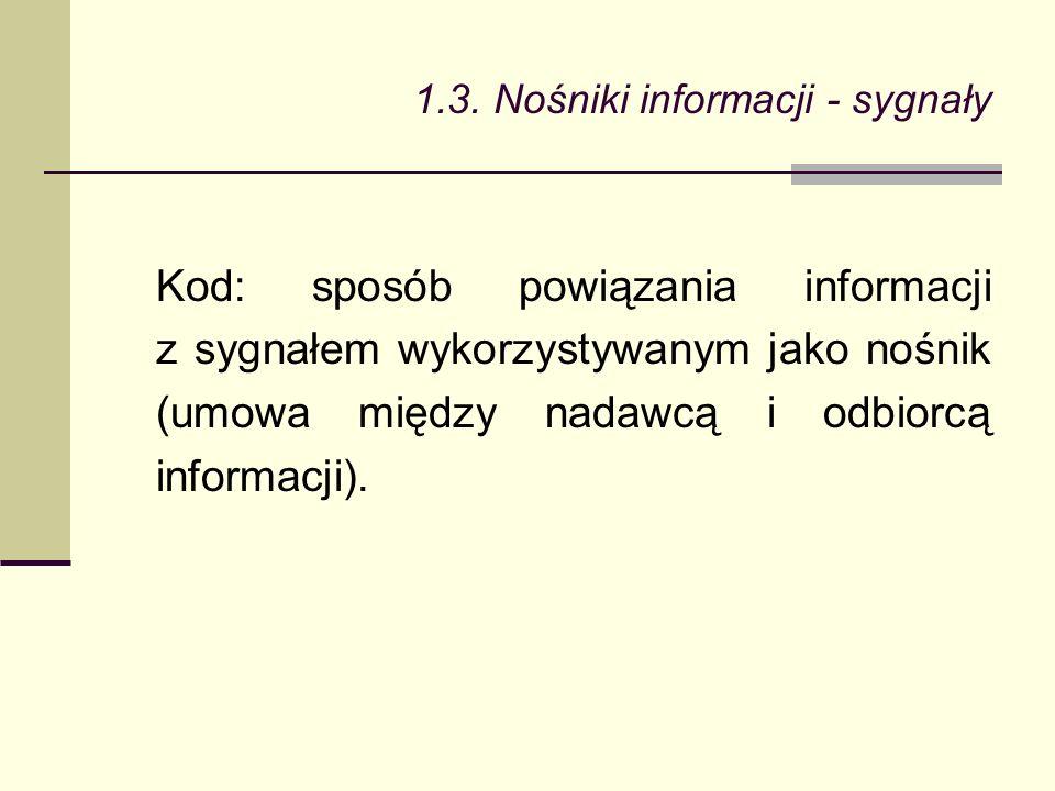 Kod: sposób powiązania informacji z sygnałem wykorzystywanym jako nośnik (umowa między nadawcą i odbiorcą informacji).