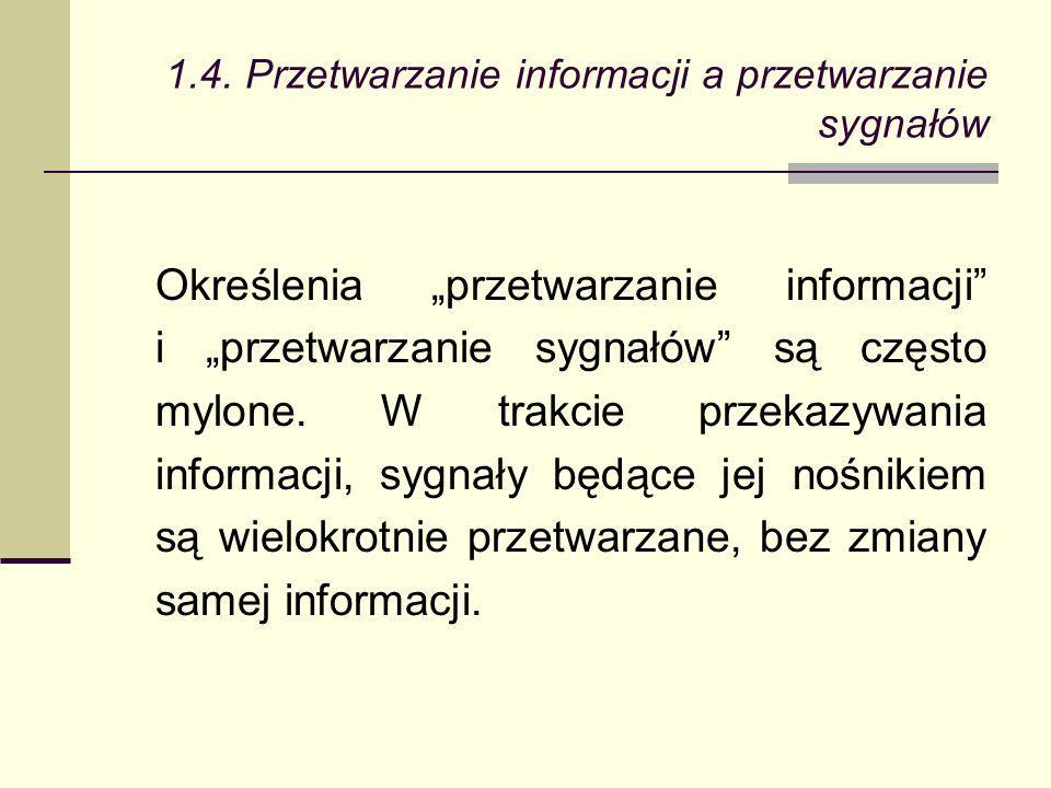 Określenia przetwarzanie informacji i przetwarzanie sygnałów są często mylone.
