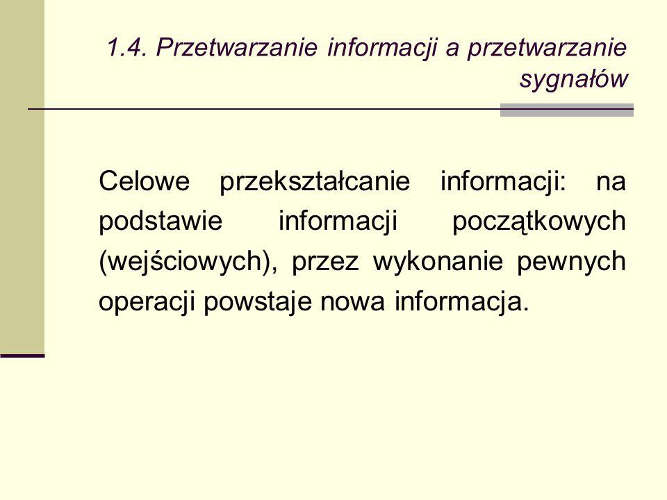 Celowe przekształcanie informacji: na podstawie informacji początkowych (wejściowych), przez wykonanie pewnych operacji powstaje nowa informacja.
