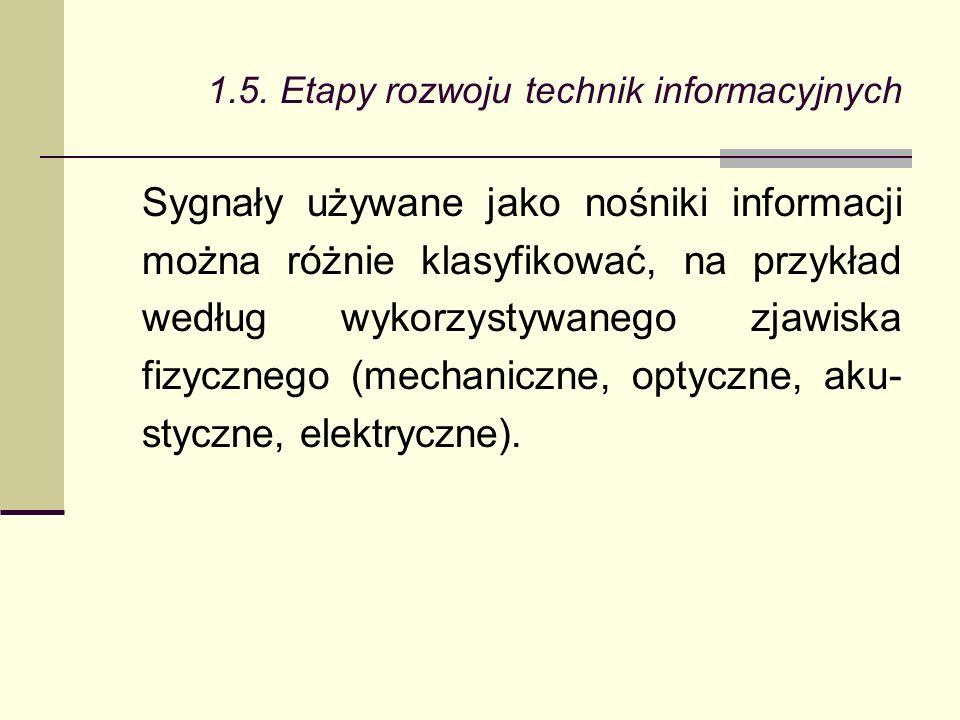 Sygnały używane jako nośniki informacji można różnie klasyfikować, na przykład według wykorzystywanego zjawiska fizycznego (mechaniczne, optyczne, aku- styczne, elektryczne).