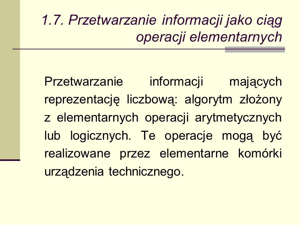 1.7. Przetwarzanie informacji jako ciąg operacji elementarnych Przetwarzanie informacji mających reprezentację liczbową: algorytm złożony z elementarn