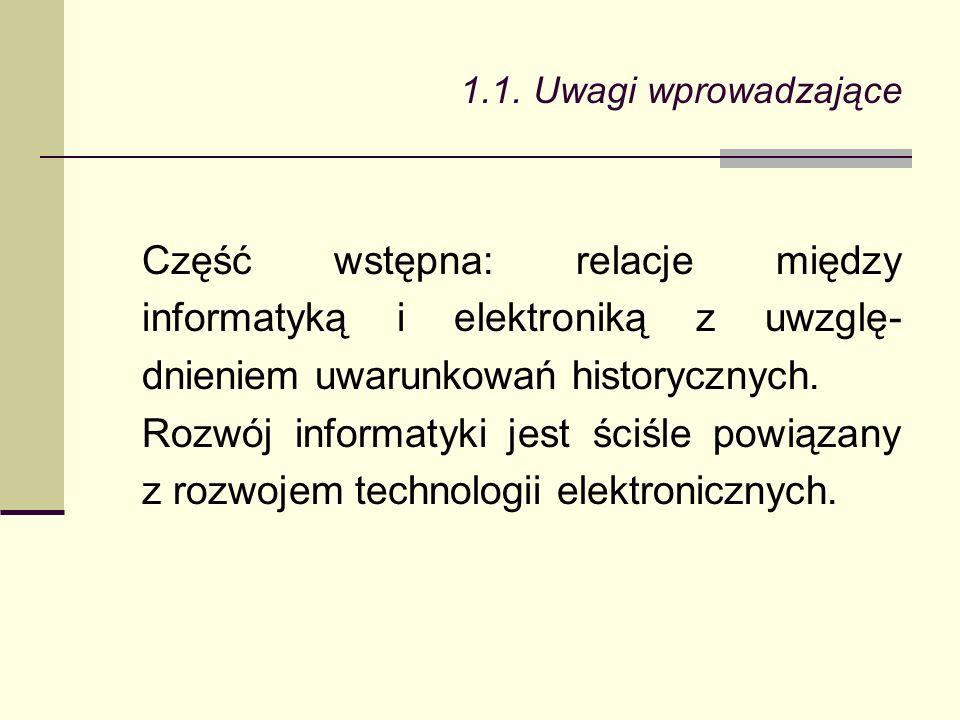 Część wstępna: relacje między informatyką i elektroniką z uwzglę- dnieniem uwarunkowań historycznych.