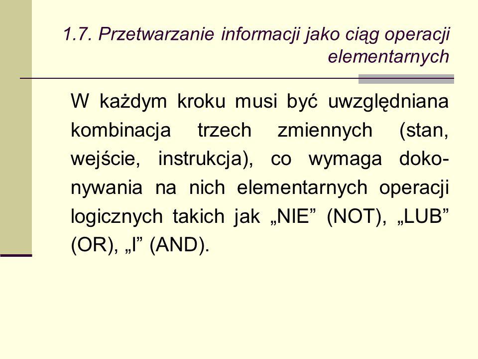 W każdym kroku musi być uwzględniana kombinacja trzech zmiennych (stan, wejście, instrukcja), co wymaga doko- nywania na nich elementarnych operacji logicznych takich jak NIE (NOT), LUB (OR), I (AND).