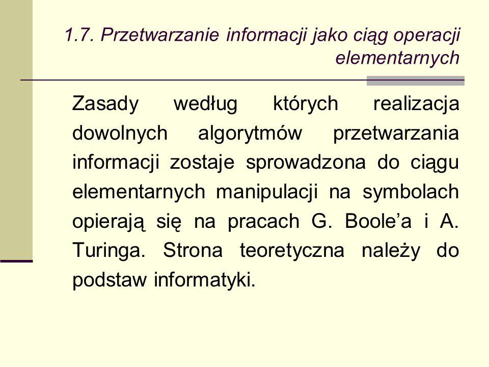 Zasady według których realizacja dowolnych algorytmów przetwarzania informacji zostaje sprowadzona do ciągu elementarnych manipulacji na symbolach opierają się na pracach G.