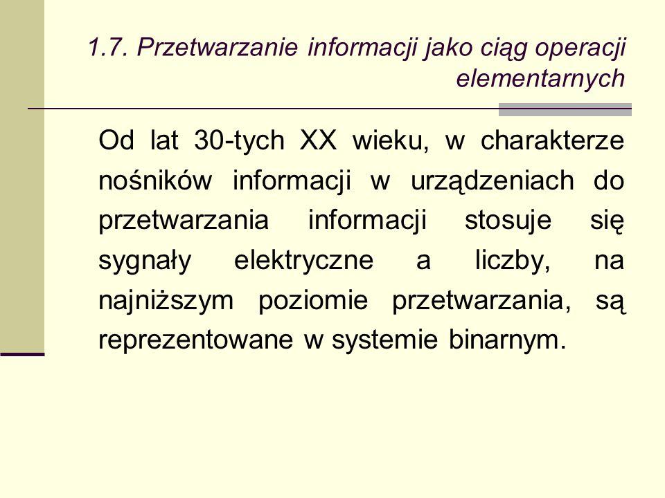 Od lat 30-tych XX wieku, w charakterze nośników informacji w urządzeniach do przetwarzania informacji stosuje się sygnały elektryczne a liczby, na najniższym poziomie przetwarzania, są reprezentowane w systemie binarnym.