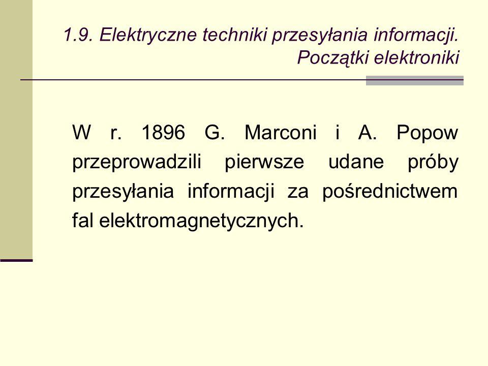 W r. 1896 G. Marconi i A.