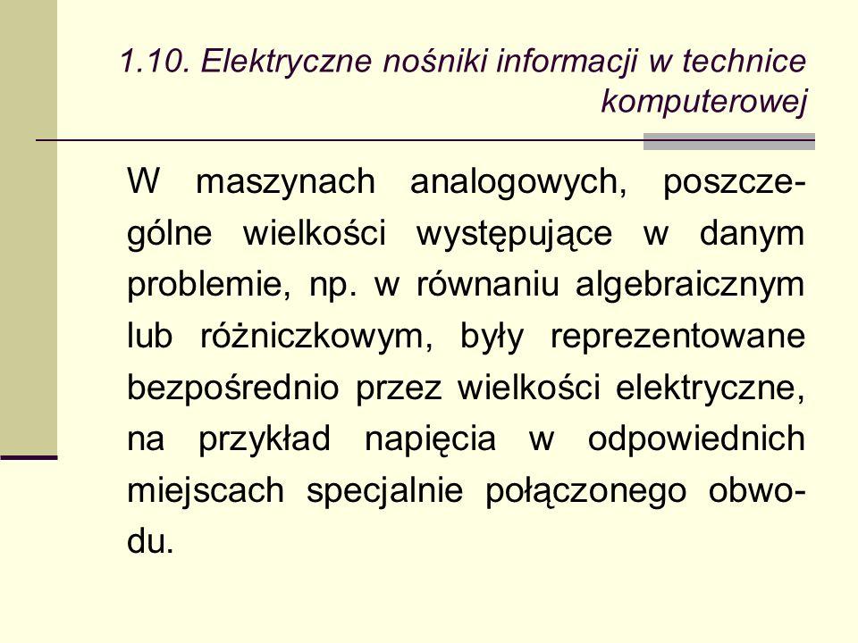 W maszynach analogowych, poszcze- gólne wielkości występujące w danym problemie, np.