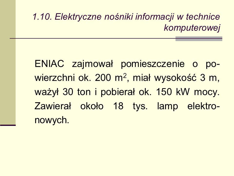 ENIAC zajmował pomieszczenie o po- wierzchni ok.