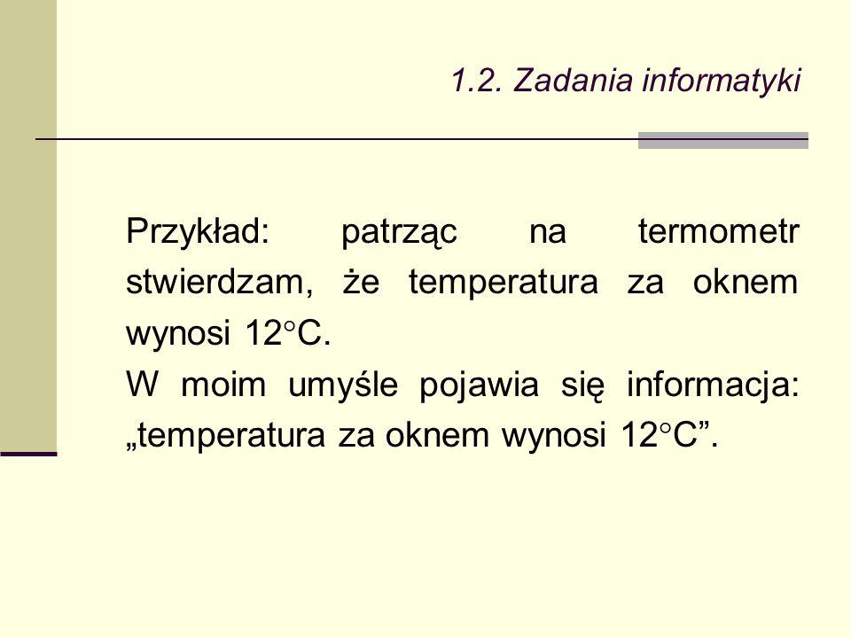 Przykład: patrząc na termometr stwierdzam, że temperatura za oknem wynosi 12°C.