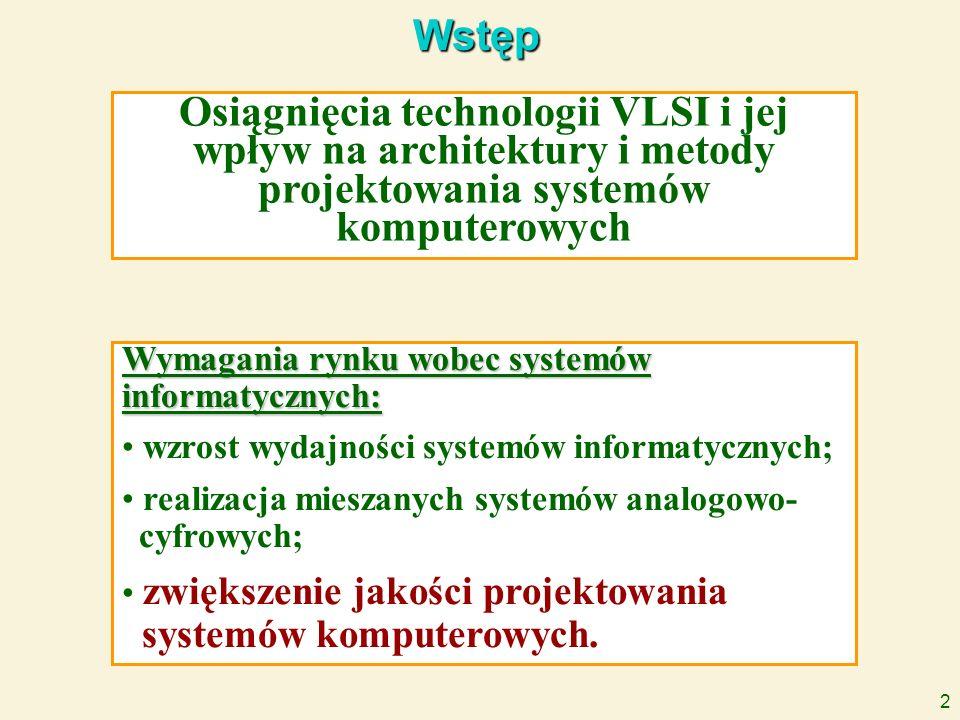 2 Wstęp Osiągnięcia technologii VLSI i jej wpływ na architektury i metody projektowania systemów komputerowych Wymagania rynku wobec systemów informat