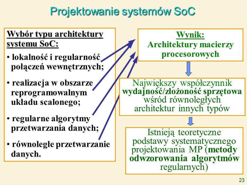 23 Projektowanie systemów SoC Wybór typu architektury systemu SoC: lokalność i regularność połączeń wewnętrznych; realizacja w obszarze reprogramowaln
