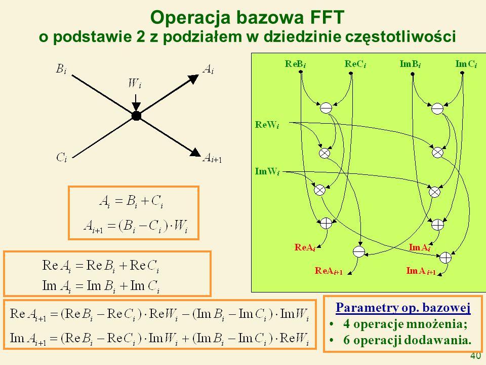 40 Operacja bazowa FFT o podstawie 2 z podziałem w dziedzinie częstotliwości Parametry op. bazowej 4 operacje mnożenia; 6 operacji dodawania.