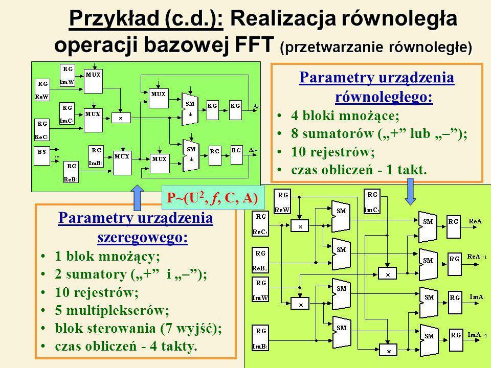 20 Przykład (c.d.): Realizacja równoległa operacji bazowej FFT (przetwarzanie równoległe) Parametry urządzenia szeregowego: 1 blok mnożący; 2 sumatory (+ i –); 10 rejestrów; 5 multiplekserów; blok sterowania (7 wyjść); czas obliczeń - 4 takty.