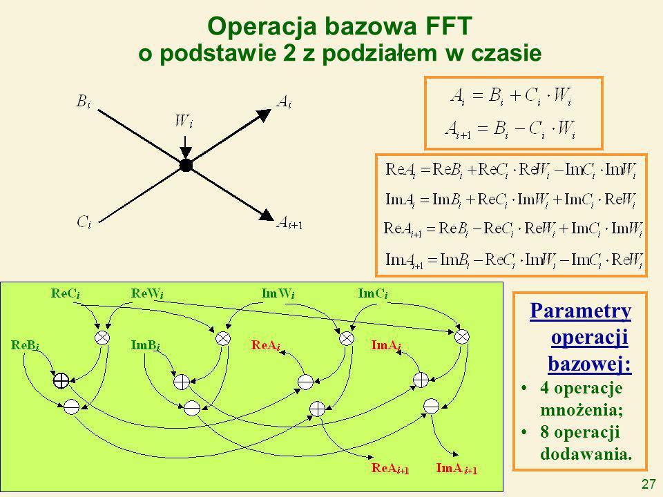27 Operacja bazowa FFT o podstawie 2 z podziałem w czasie Parametry operacji bazowej: 4 operacje mnożenia; 8 operacji dodawania.