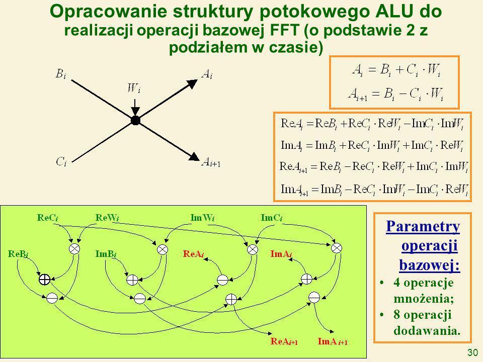 30 Opracowanie struktury potokowego ALU do realizacji operacji bazowej FFT (o podstawie 2 z podziałem w czasie) Parametry operacji bazowej: 4 operacje mnożenia; 8 operacji dodawania.