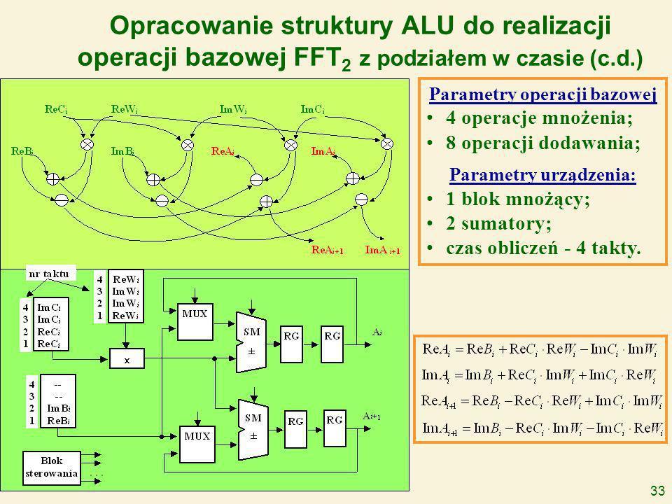 33 Opracowanie struktury ALU do realizacji operacji bazowej FFT 2 z podziałem w czasie (c.d.) Parametry operacji bazowej 4 operacje mnożenia; 8 operacji dodawania; Parametry urządzenia: 1 blok mnożący; 2 sumatory; czas obliczeń - 4 takty.