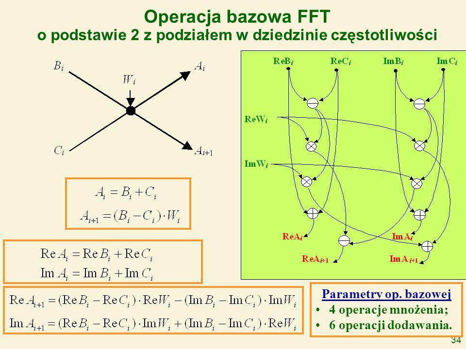34 Operacja bazowa FFT o podstawie 2 z podziałem w dziedzinie częstotliwości Parametry op.