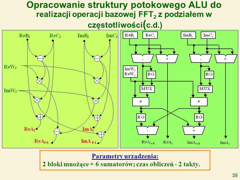 38 Opracowanie struktury potokowego ALU do realizacji operacji bazowej FFT 2 z podziałem w częstotliwości ( c.d.) Parametry urządzenia: 2 bloki mnożące + 6 sumatorów; czas obliczeń - 2 takty.