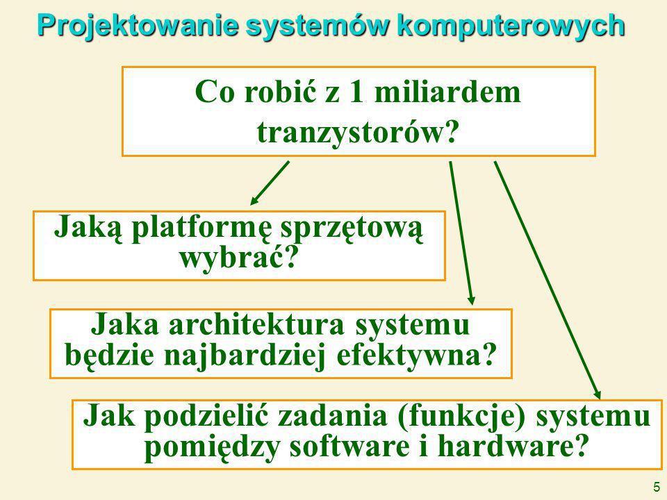 5 Projektowanie systemów komputerowych Co robić z 1 miliardem tranzystorów.