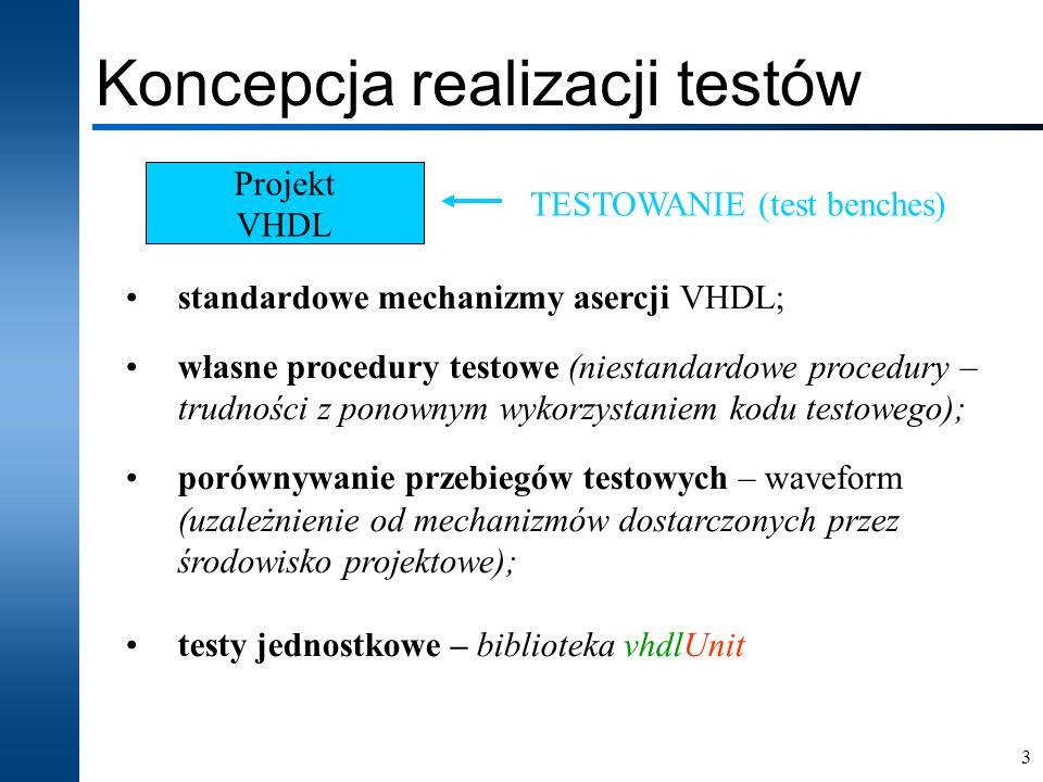 14 Osadzanie testów clear SetActiveLib -work set PROJECT_HOME $DSN\src\vhdlunit\examples comp -include $PROJECT_HOME\vhdlunit\vhdlUnit_cfg.vhd comp -include $DSN\src\vhdlUnit\vhdlUnit.vhd asim INITIALIZE_VHDL_UNIT run 1ns Endsim comp -include $PROJECT_HOME\fa.vhd comp -include $PROJECT_HOME\testbench\fa_TB.vhd asim TESTBENCH_FOR_fa run 400 ns Endsim...