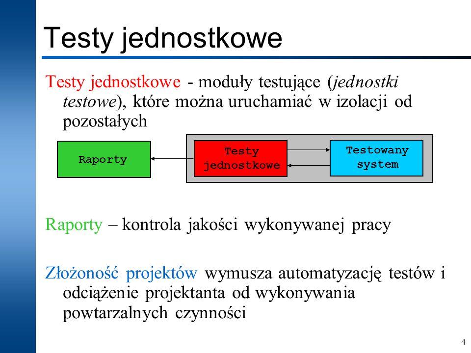 15 Dwie jednostki testowe (procesy) znajdujące się w jednym wspólnym lub dwóch niezależnych testbenchach wykonywanych w niezależnych symulacjach TestCaseB : process begin setUp(Test,TestCase_2); wait for assertTime(50ns); assertEquals(out1,0); … tearDown; wait end process; Konfiguracja vhdlUnit package vhdlUnit_cfg is constant TEST_PROJECT_NAME : String := Nazwa testu ; constant TEST_PROJECT_HOME : String := lokalizacja ; constant TestCase_1 : boolena := true; constant TestCase_2 : boolena := false; end vhdlUnit_cfg; TestCaseA : process begin setUp(Test,TestCase_1); wait for assertTime(50ns); assertEquals(out1,0); … tearDown; wait end process; Plik konfiguracyjny umożliwia selektywne włączanie określonych procesów testowych vhdlUnit_cfg.vhd