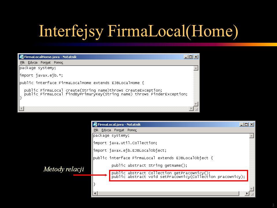 3 Interfejsy FirmaLocal(Home) Metody relacji
