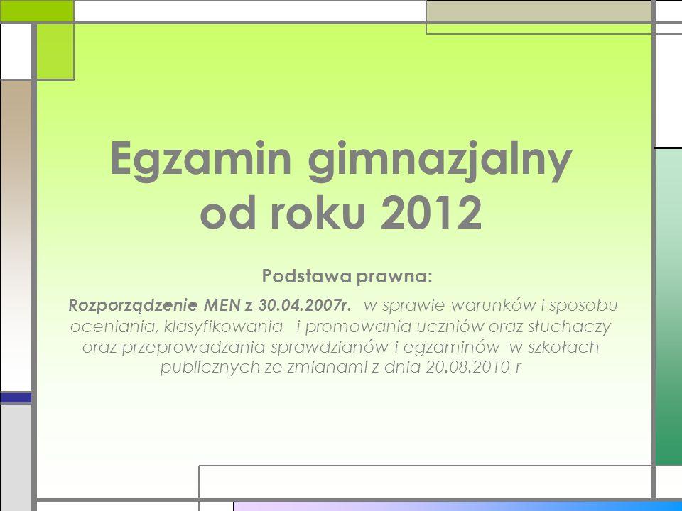 Egzamin gimnazjalny od roku 2012 Podstawa prawna: Rozporządzenie MEN z 30.04.2007r.