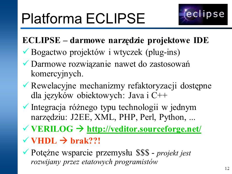 12 Platforma ECLIPSE ECLIPSE – darmowe narzędzie projektowe IDE Bogactwo projektów i wtyczek (plug-ins) Darmowe rozwiązanie nawet do zastosowań komerc