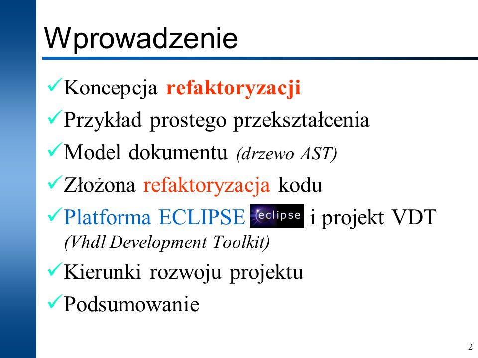 2 Wprowadzenie Koncepcja refaktoryzacji Przykład prostego przekształcenia Model dokumentu (drzewo AST) Złożona refaktoryzacja kodu Platforma ECLIPSE i