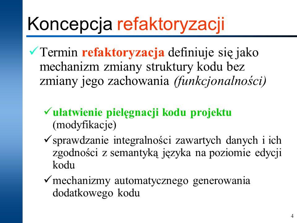 4 Koncepcja refaktoryzacji Termin refaktoryzacja definiuje się jako mechanizm zmiany struktury kodu bez zmiany jego zachowania (funkcjonalności) ułatw