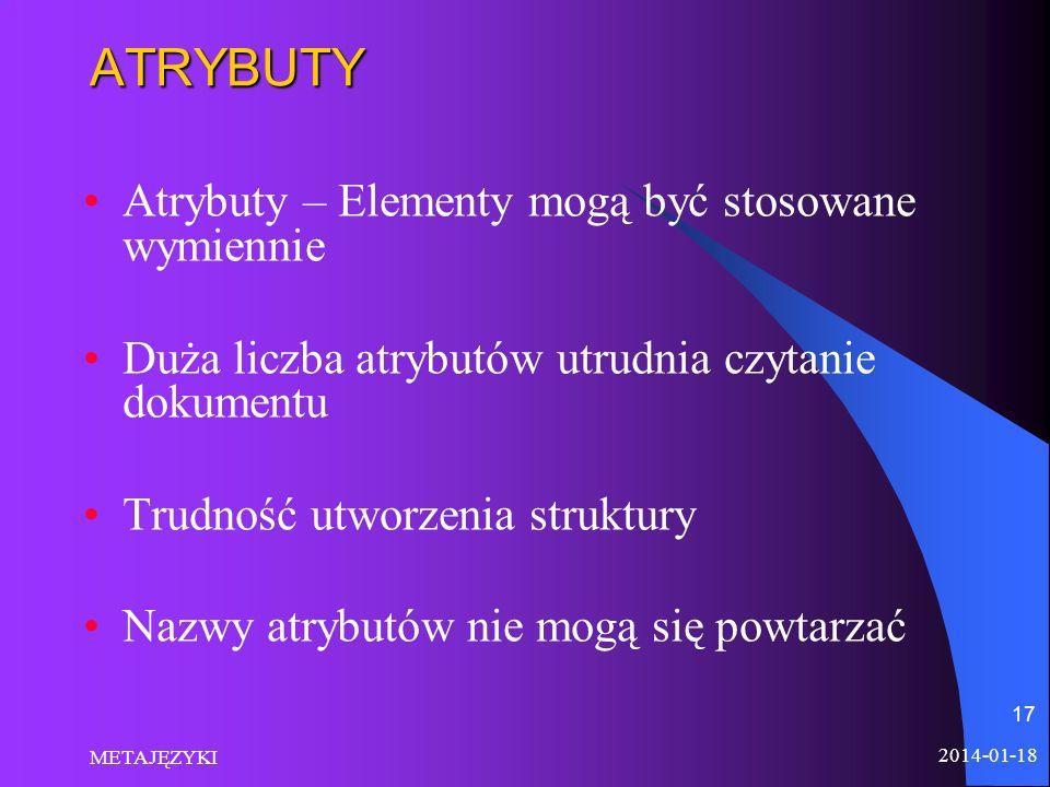 2014-01-18 METAJĘZYKI 17ATRYBUTY Atrybuty – Elementy mogą być stosowane wymiennie Duża liczba atrybutów utrudnia czytanie dokumentu Trudność utworzeni