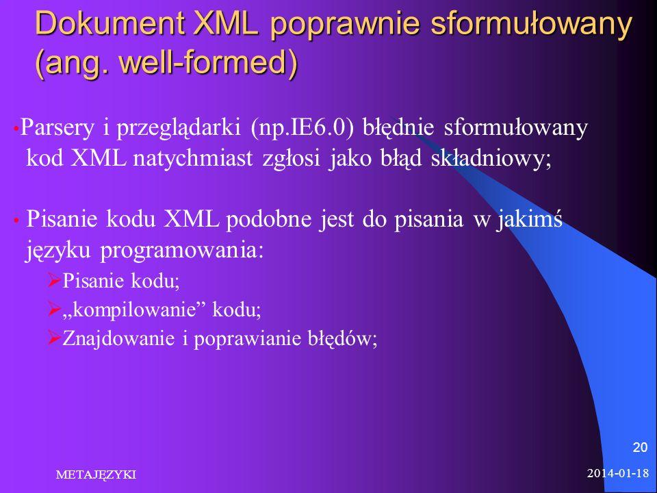 2014-01-18 METAJĘZYKI 20 Dokument XML poprawnie sformułowany (ang. well-formed) Parsery i przeglądarki (np.IE6.0) błędnie sformułowany kod XML natychm