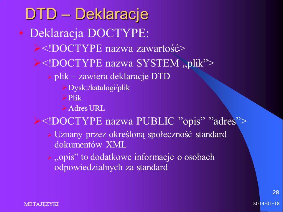 2014-01-18 METAJĘZYKI 28 DTD – Deklaracje Deklaracja DOCTYPE: plik – zawiera deklaracje DTD Dysk:/katalogi/plik Plik Adres URL Uznany przez określoną