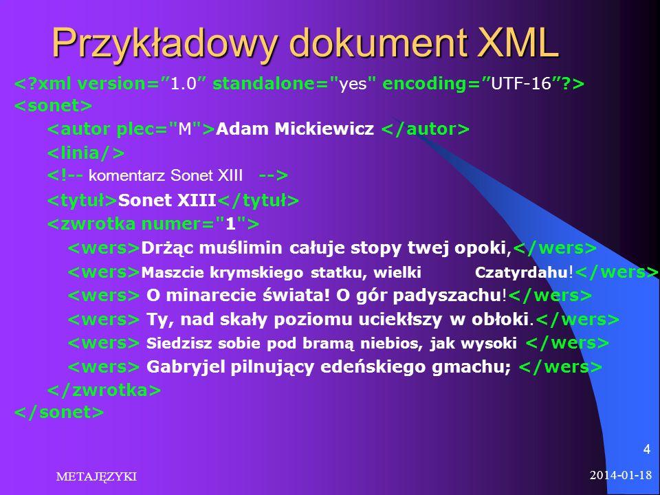 2014-01-18 METAJĘZYKI 4 Przykładowy dokument XML Adam Mickiewicz Sonet XIII Drżąc muślimin całuje stopy twej opoki, Maszcie krymskiego statku, wielki