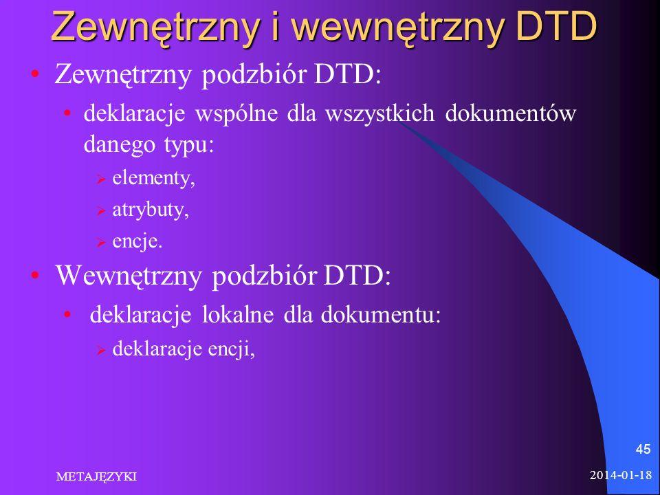 2014-01-18 METAJĘZYKI 45 Zewnętrzny i wewnętrzny DTD Zewnętrzny podzbiór DTD: deklaracje wspólne dla wszystkich dokumentów danego typu: elementy, atry