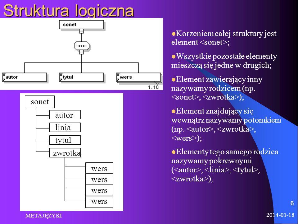 2014-01-18 METAJĘZYKI 6 Struktura logiczna Korzeniem całej struktury jest element ; Wszystkie pozostałe elementy mieszczą się jedne w drugich; Element