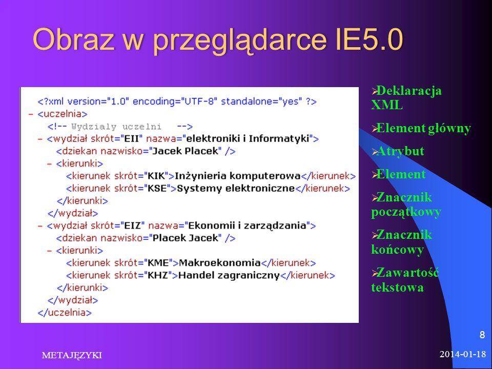 2014-01-18 METAJĘZYKI 8 Deklaracja XML Element główny Atrybut Element Znacznik początkowy Znacznik końcowy Zawartość tekstowa Obraz w przeglądarce IE5