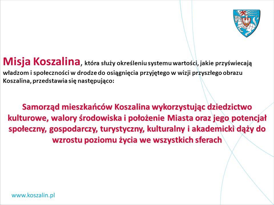 Misja Koszalina, która służy określeniu systemu wartości, jakie przyświecają władzom i społeczności w drodze do osiągnięcia przyjętego w wizji przyszł