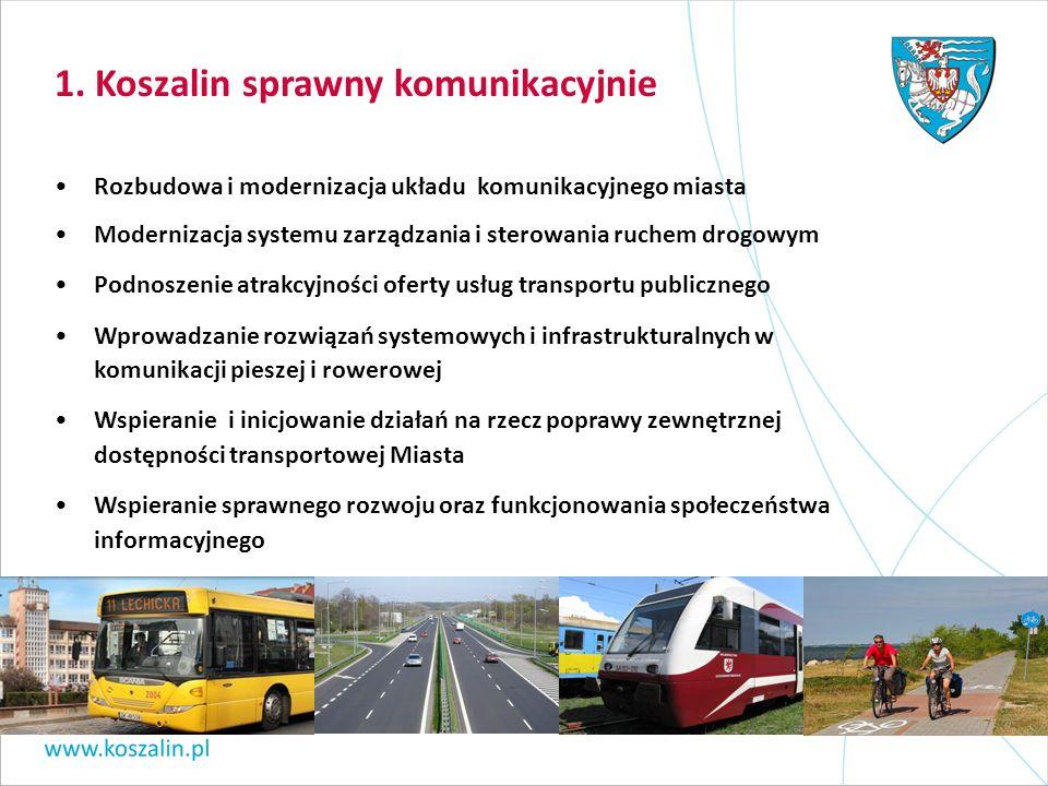 1. Koszalin sprawny komunikacyjnie Rozbudowa i modernizacja układu komunikacyjnego miasta Modernizacja systemu zarządzania i sterowania ruchem drogowy