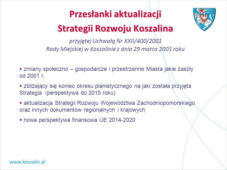 Przesłanki aktualizacji Strategii Rozwoju Koszalina Przesłanki aktualizacji Strategii Rozwoju Koszalina przyjętej Uchwałą Nr XXII/400/2001 Rady Miejsk